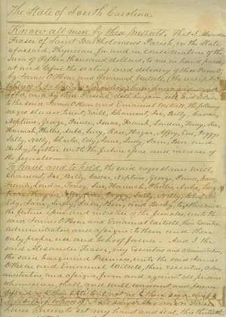 1852 South Carolina Slave Bill of Sale (Image1)