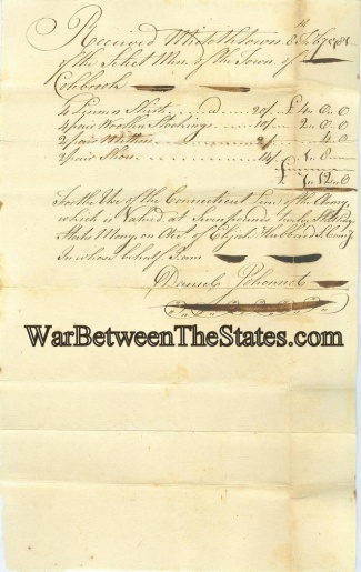 1781 Receipt For Items Issued To Connecticut Line