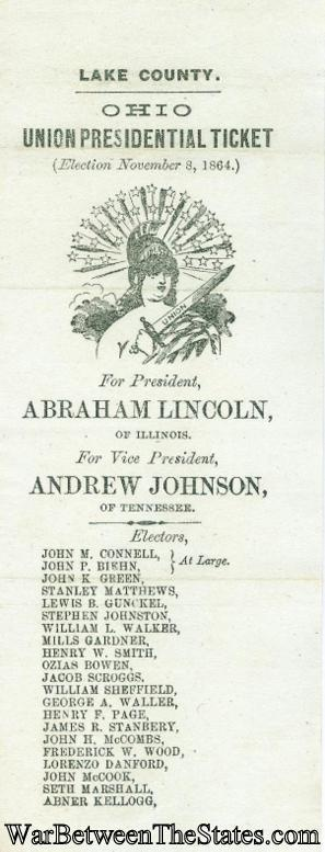1864 Abraham Lincoln & Andrew Johnson Election Ticket (Image1)