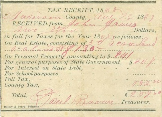 Anderson County, South Carolina Tax Receipt