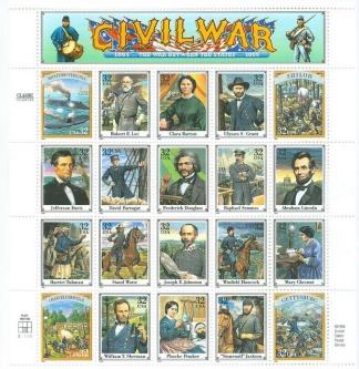 Sheet of Commemorative Civil War U.S. Postage Stamps (Image1)