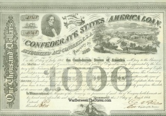 1863 Confederate $1,000 Bond, Jefferson Davis