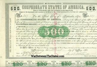 1861 Confederate $500 Bond (Image1)