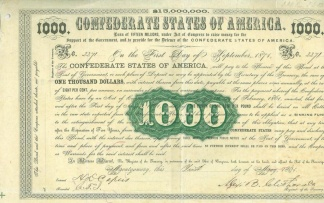 1861 Confederate $1,000 Bond