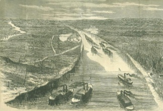 The Union Gunboats Advancing Up The Tennessee River