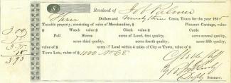 1845 Mississippi Tax Receipt (Image1)