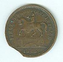 1863 Civil War Patriotic Token, First In War, First In Peace