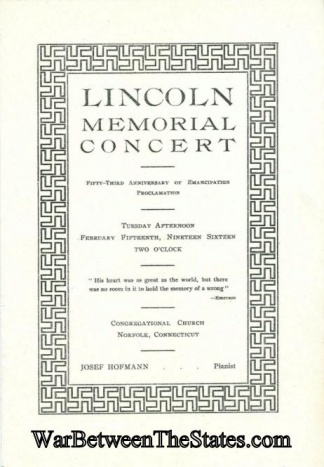 Abraham Lincoln Memorial Concert Program