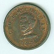 1863 Civil War Patriotic Token, General George B. McClellan (Image1)