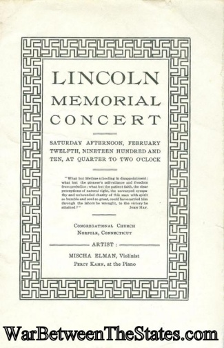 1910, President Abraham Lincoln Memorial Concert Program (Image1)