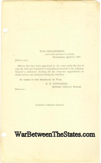 War Department Circular Regarding Officers Who Served  (Image1)