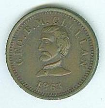 1863 Civil War Patriotic Token, General George B. McClellan (Image1)