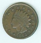 1863 Civil War Patriotic Token, Indian With Headdress