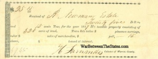 1837 Warren County, Mississippi Tax Receipt Listing Slaves