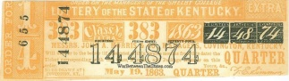 1863 State Of Kentucky Lottery Ticket