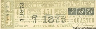1863 State of Kentucky Lottery Ticket (Image1)