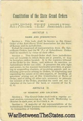 Anti-horse Thief Association Constitution & By Laws
