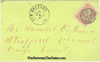 1863 Civil War Cover Postmarked at New Orleans, Louisiana (Image1)