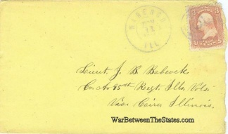 War Date Envelope Addressed To Lieutenant 95th Illinois Infantry