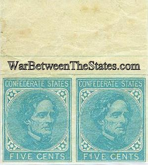 Pair of Five Cents Confederate Jeff Davis Postage Stamps (Image1)