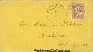 1864 Cover Postmarked at Natchez, Mississippi (Image1)