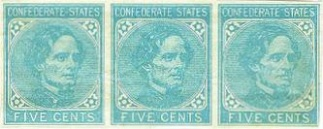 Block of 3 Five Cents Confederate Postage Stamps (Image1)