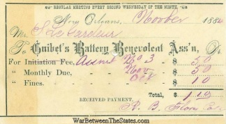 Guibet's Battery Benevolent Association Receipt