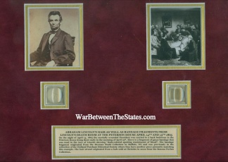 President Abraham Lincoln's Hair & Death Bed Bandage Display