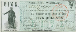 1862 State of Texas $5 Treasury Warrant For Military Service (Image1)