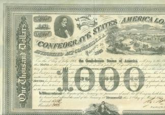 1863 Confederate $1,000 Bond- Jefferson Davis (Image1)