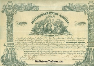 1861 Confederate $1,000 Bond- Jefferson Davis