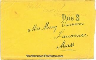 Cover Sent by Adjutant of the 40th Massachusetts Infantry (Image1)