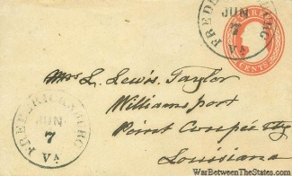 Cover Sent From Fredericksburg, Va. To Point Coupee, Louisiana