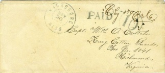 Confederate Cover Sent From Vicksburg, Mississippi  (Image1)