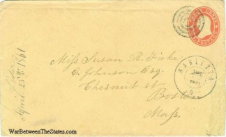 1861 Cover Sent From Marietta, Ohio To Boston, Massachusetts