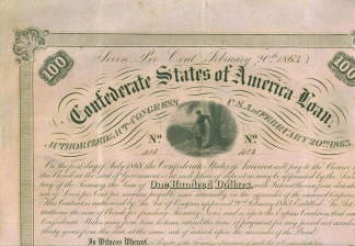 1863 Confederate $100 Bond (Image1)
