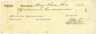 1831 Mississippi Tax Receipt For Land & Slaves