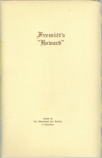 Booklet, Fremiet's Howard (Image1)