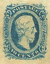 1863 Ten Cents Jefferson Davis Confederate Postage Stamp (Image1)