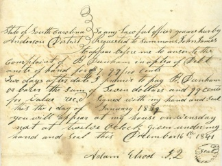 1841 Anderson District, South Carolina Summons
