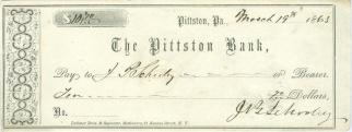 1863 Pittston, Pennsylvania Bank Check  (Image1)