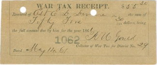 1861 Civil War Tax Receipt (Image1)