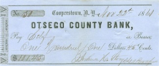 Civil War Dated Check from Cooperstown, New York (Image1)