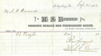 Gettysburg Merchant, H.S. Benner, Signed Document  (Image1)