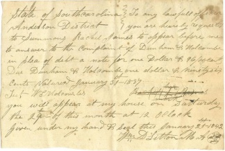 1842 Summons, Anderson District, South Carolina