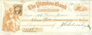 1864 Pittston, Pennsylvania Bank Check (Image1)