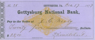 Gettysburg National Bank Check (Image1)