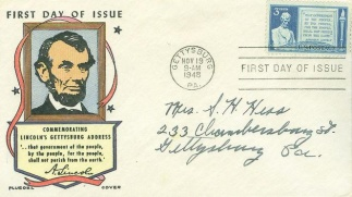 Lincoln's Gettysburg Address, 1948 First Day Cover (Image1)
