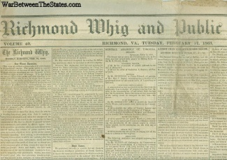 1863 Richmond Whig And Public Advertiser