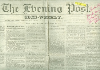 The Evening Post, New York, April 25, 1860 (Image1)